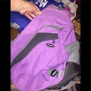 Samsonite Over Shoulder Backpack; Purple & Gray